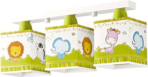 dschungel lampe Dalber 63113 Little Zoo Deckenlampe, 3-Flammige, Plastik, gelb, 48 x 12.5 x 20.5 cm