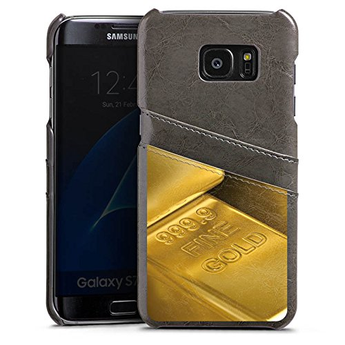 Samsung Galaxy S7 Edge Lederhülle grau Leder Case Leder Handyhülle Goldbarren Gold Barren