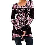 Inlefen Übergröße Damen Vintage Blusen Gothic T-Shirts Gedruckt Lange Hemden Langarmshirts Rundhals Minikleid A-Linie Abnehmen Frühling Herbst Winter Lässig Täglich Blau Grau Rosa