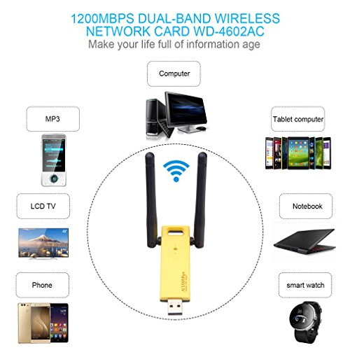 Dingcaiyi Antena Externa Adaptador USB De Doble Banda