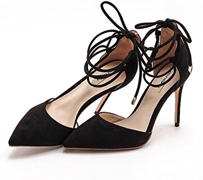8cm 10cm schwarz Sommer spitzen Riemen Stilettos wilde sexy flachen Baodan Sandalen ( Farbe : Black10cm  größeö