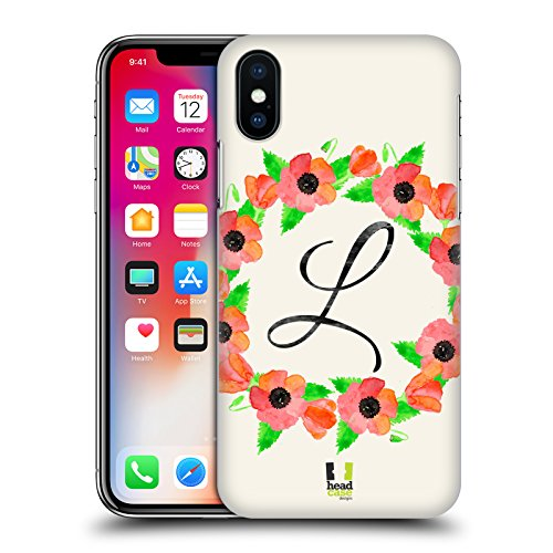 Head Case Designs J Plumerias Corona Di Fiori Cover Retro Rigida per Apple iPhone X L Papavero