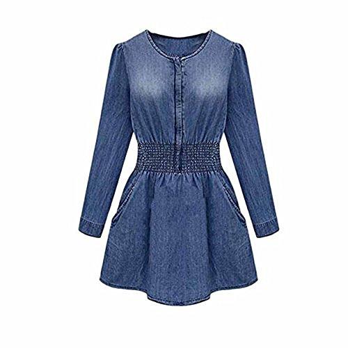 Internet Vintage Women Long Sleeve Casual Denim Jeans Party Mini Dress (UK 14-16/XXL, Blue)