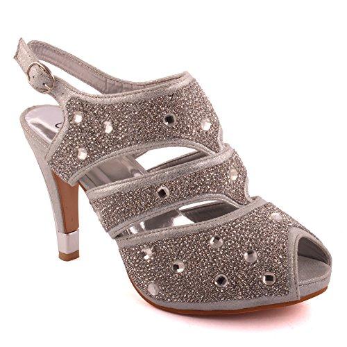 Unze Le nuove donne Ladies 'Naetta' Crystal Diamante accentati Low Mid tacco a spillo da sera, da sposa, Prom del partito del sandalo talloni di formato 3-8 Argento