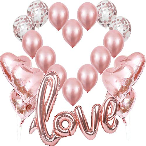 Rosegold Love Luftballons, XXL Love Helium Folienballon Rose Gold Hertz Folienballons Konfetti Ballon, Romantisch Deko, Dekoration für Romantische Atmosphäre, Heiratsantrag, Valentinstag Deko Hochzeit