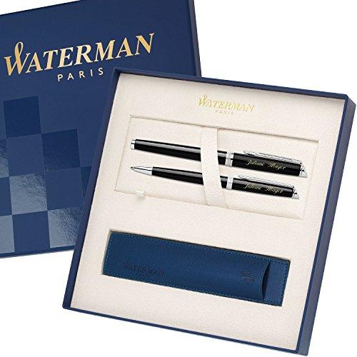 WATERMAN Schreibset HEMISPHERE Essential Schwarz C.C. mit Gravur Tintenroller und Kugelschreiber mit...