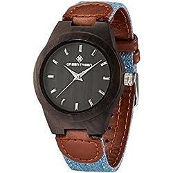 Wooden Watch Unisex Size Sandalwood Black Case Women's Wrist Watches 38mm Watch Case