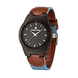 Wooden Watches Unisex Size With Sandalwood Black Case In 38mm Watch Case Diameter Japan Quartz Movement Analogue Display For Sale