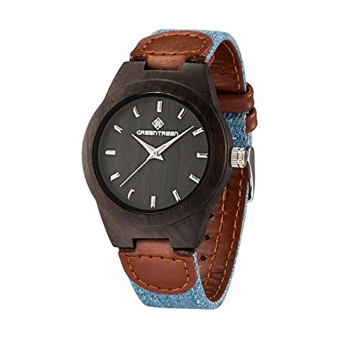 - 51b F5cVpuL - Greentreen Canvas Mix Leather Bands Wooden Watch Unisex Size Sandalwood Black Case Mens And Womens Wristwatches
