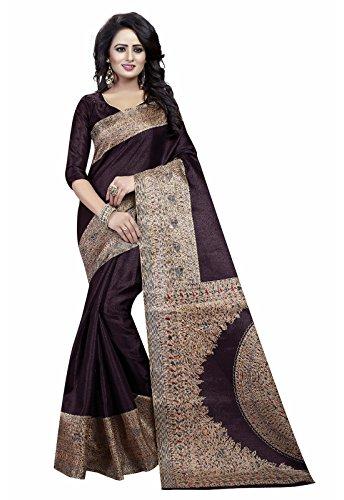 Ishin Kalamkari Art Silk Brown Printed Party Wear Wedding Wear Casual Wear Festive Wear Bollywood New Collection Latest Design Trendy Women\'s Saree/Sari