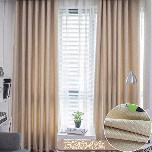 Tende reticolo solido puro lino tende mianma vento shading isolamento camera moderno minimalista.,a,200 x 270 cm (w x h) x 2