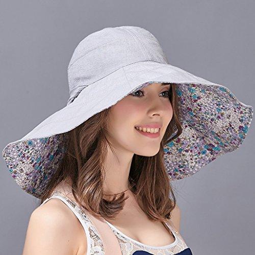 Sonnenhut / Sonnenhut / Frauen-Sommer-im Freien faltender großer Hut / Anti-UV Strand-Strand Fischer Sun Hat ( Color : Light blue , Size : M )