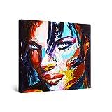 Startonight Cuadro Moderno en Lienzo - Cara de Mujer Pintada, Eva Lista para Seducirte - Pintura Abstracta para Salon Decoración 80 x 80 cm