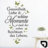 DESIGNSCAPE® Wandtattoo Gesundheit Liebe Momente | Spruch Lebensweisheit 91 x 160 cm (Breite x Höhe) Farbe 1: schwarz DW801699-L-F4