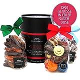 Hallingers Weihnachts-Geschenk-Set Pralinen-Mandeln-Orangen (450g) - Weihnachts-Naschmix (Naschdose) - zu Weihnachten