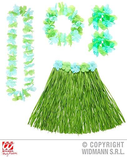 5 - teiliges HAWAII - SET grün / blau, Suedsee Luau Aloha Karibik Beach (Kostüme Set Aloha)