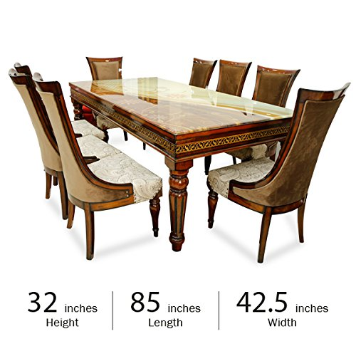 Stallion Traders Brown Burma Teak Wood 8 Seater Dinning Table with Marble Top