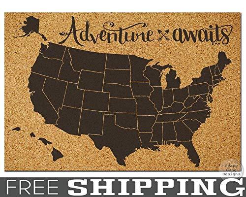 CELYCASY Pinnwand Karte // X-Large Pinnable Kork Karte der USA // USA Reisekarte // Bulletin Board Map // Wohnheim Raumdekoration // Reise Kork Board (Usa Reise-karte)