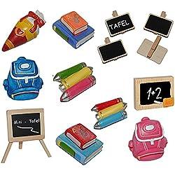 3-D Figur Schultüte - Tischdeko aus Kunstharz zur Schuleinführung Einschulung Zuckertüte Schulanfang Deko bunte