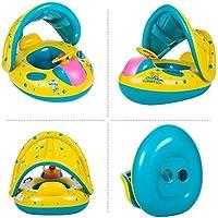 Hongtianyuan Flotador para bebé con Asiento,Respaldo,Techo del Sol, Barca bebé de