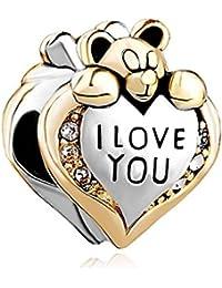 Uniqueen Cuenta con forma de corazón y oso de peluche y con cristales, con inscripción en inglés, apta para pulseras Pandora