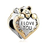 Uniqueen Heart I Love You Bear Clear Birthstone Crystal, used for sale  Delivered anywhere in Ireland