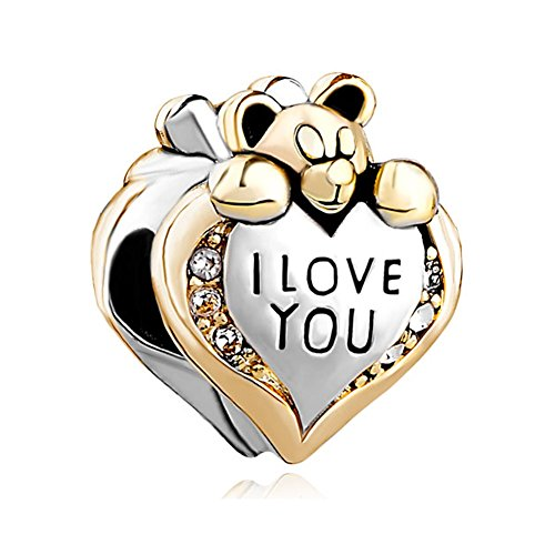 Uniqueen Heart I Love You Bear Clear Birthstone Crystal Charms Sale Cheap Beads fit Pandora Chamilia Bracelet
