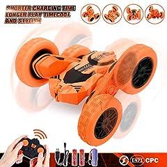 Idea Regalo - Peradix Macchina Telecomandata, 4WD RC Auto Telecomando 360° Rotazione Acrobatica RC Stunt Car, 2.4GHZ Macchina Radiocomandata per Bambini Giocattoli - (Batteria e Cavo di Ricarica USB Inclusa)