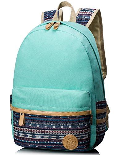 Leaper Sac à dos Scolaire Cartable fille Sac d'école Sac loisirs sac porté épaule toile school backpack style coréen aqua