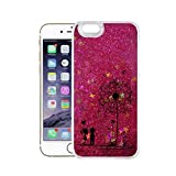 Finoo Iphone 7 Plus Flüssige Liquid Pinke Glitzer Bling Bling Handy-Hülle | Rundum Silikon Schutz-hülle + Muster | Weicher TPU Bumper Case Cover | Pusteblume