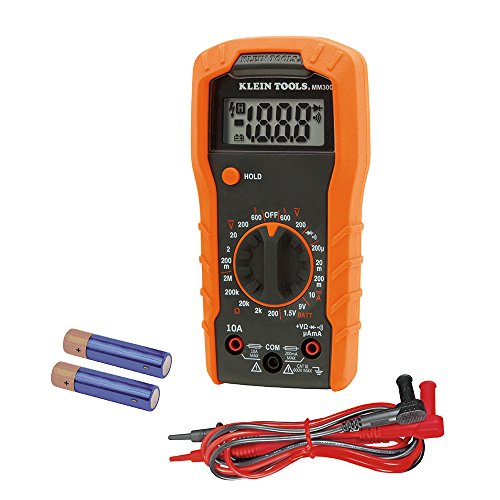 Klein Tools MM300 Digitales Multimeter, manuelle Bereichseinstellung, 600 V, CAT III, Orange/schwarz