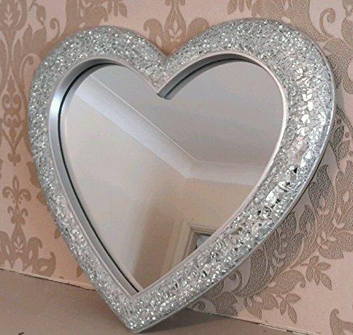 Silver Crackle Glass Wall Mirror Mosaic Heart Frame Home Wedding