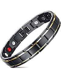 Jeracol Mens Magnetic Bracelet with Health 4 Element Magnets for Arthritis Pain Relief, Gold Black