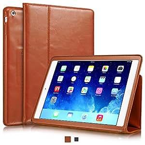 """KAVAJ iPad Air Ledertasche Case Hülle """"Berlin"""" für das Apple iPad Air, cognac braun aus echtem Leder mit Standfunktion. Dünnes Smart Cover als edles Zubehör für das Original iPad Air"""