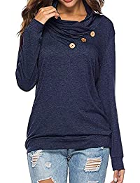 MYMYG Frauen Solide Cowl Neck Sweatshirt Casual T-Shirt Tasten Langarm Knopf Wasserfallausschnitt Tunika Top Langarmshirt Pulli Shirt Herbst Winterpullover Freizeit Tops
