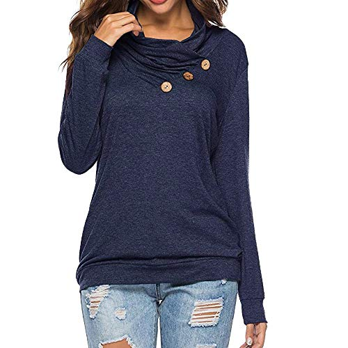 iHENGH Damen Frühling Sommer Top Bluse Bequem Lässig Mode Frauen Blusen Lässiges T-Shirt für Frauen Langarm Knopf Tunika Sweatshirt mit Rundhalsausschnitt Tops Bluse(Marine, 2XL)