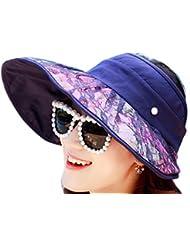 Leisial Sombrero de Sol Ocio Verano Sombrero de Playa Viaje Plegable Protector Solar Sombrero de Ala Ancha Viseras para Mujer,Rojo