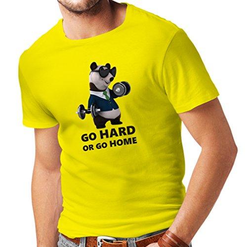 lepni.me Camisetas hombre Go Hard or Go Home - boxeo, levantamiento, gimnasio, fitness - ropa de ejercicio divertido (Large Amarillo Multicolor)