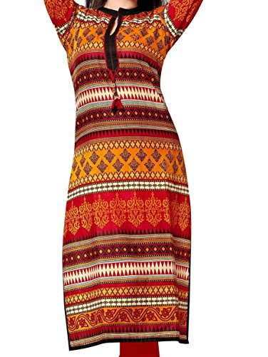Kurti (Om Fashion Women\'s Cotton Printed Multicolor & Kurti) ( Free Size Altrable Till 42-44 OR XL)