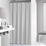Sealskin Textil Duschvorhang Chesterfield, Farbe: Grau, B x H: 180 x 200 cm