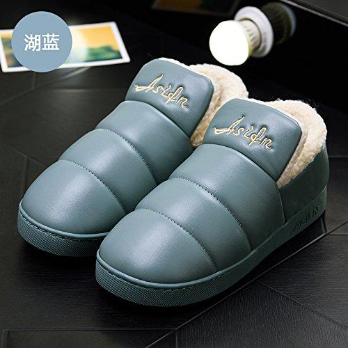 DogHaccd pantofole,Inverno pantofole di cotone morbido pacchetto spessa con un soggiorno interni in pelle impermeabile e antiscivolo per uomini e donne paio di scarpe di cotone Il lago blu1