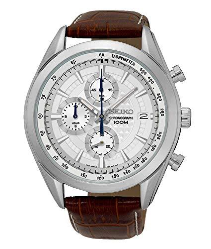 Seiko Herren Chronograph Quarz Uhr mit Leder Armband SSB181P1