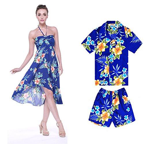 d1bcd102c Camiseta de vestir de traje a juego Luau hawaiano de madre e hijo Hibisco  azul Mujer 2XL Chico 2