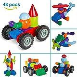 MVPOWER 48tlg Magnetische Bausteine Magnetspielzeug Set Kreative und Pädagogische Bauklötze Konstruktionsbausteine für Kinder ab 3 Jahre Kinderspielzeug Weihnachten Geschenk (48tlg)