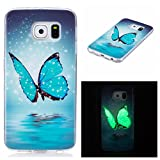 XiaoXiMi Luminous Case for Samsung Galaxy S6 Soft Silicone TPU Cover Flexible Protective Shell Ultra Thin Slim Cover Shockproof Scratchproof Bumper Glowing in the Dark - Dancing Blue Butterfly