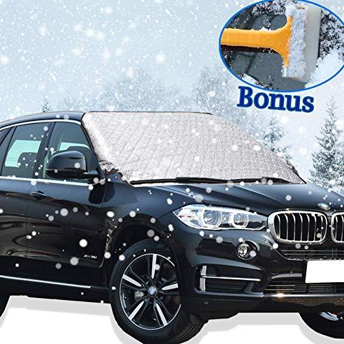 Windschutzscheibenabdeckung, Hippo Schnee Abdeckung mit zwei Wind-Beweis-Ohren Frost-Schirm-Abdeckung mit Baumwolle dicker passt die meisten Fahrzeuge