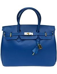 Milano Italienische echt Leder Damen Handtasche, Henkeltasche, Laptop, City Shopper, Kellystyle, Arbeitstasche, mit Goldschloss. Made in Italy