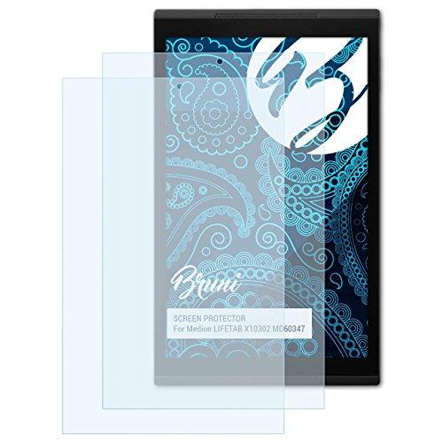 Bruni Schutzfolie für Medion LIFETAB X10302 MD60347 Folie, glasklare Bildschirmschutzfolie (2X)