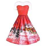 Vintage Weihnachten O-Neck Gedruckt Winte Herbst Kurzarm r A-Line Swing Kleid (Rot,S)