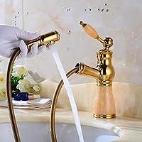 ZHAOSHOP Faucet-Headed wash Basin Faucet Antique Basin Faucet Gold-Copper Head Multi-Color Base Bathroom Faucet